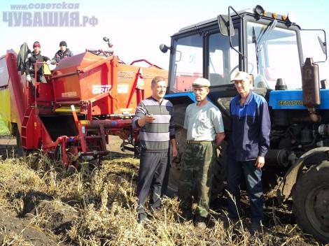 трактор комбайн уборка урожая страда поле комбайнеры трактористы