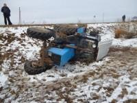 Трактор – в кювете, водитель – в больнице. Фото пресс-службы УГИБДД по ЧР