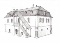 Дом купца Василия Клюева. Конец XVIII в. Рисунок-реконструкция И.К. Кугуракова.