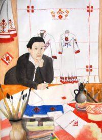Рисунок пятиклассницы Анны Окликовой «Первый художник «Паха тере» Ефремова Е.И.».