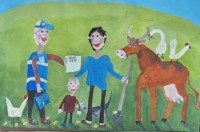 Рисунок «К нам пришел переписчик» на конкурс Чувашстата прислал шестилетний художник из села Красноармейское.