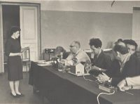 Защита дипломного проекта Осипенко Г.А. в актовом зале корпуса «А». 1966г.