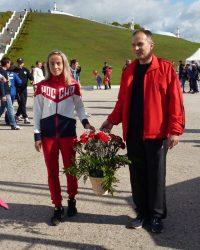 Марина Пандакова в качестве почетной гостьи приняла участие в 78-й легкоатлетической эстафете газеты «Советская Чувашия».Фото Людмилы ГРИГОРЬЕВОЙ