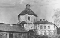 Надвратная церковь Федора Стратилата с уже заложенными воротами, 1940-е годы.