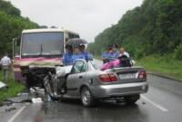 ДТП с участием автомобиля Nissan и чебоксарского автобуса в Ленинградской области