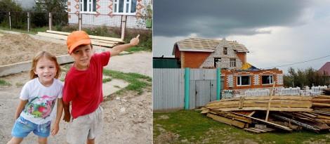 Разрушенный после урагана 17 июля дом и его жильцы. Село Октябрьское Марпосадского района. Фото Л. Васильева