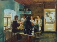 """М. Климентов. """"Семья за обедом"""". 1932 г."""