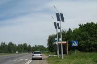 Мачты освещения с солнечными панелями на трассе М7 в Чувашии.